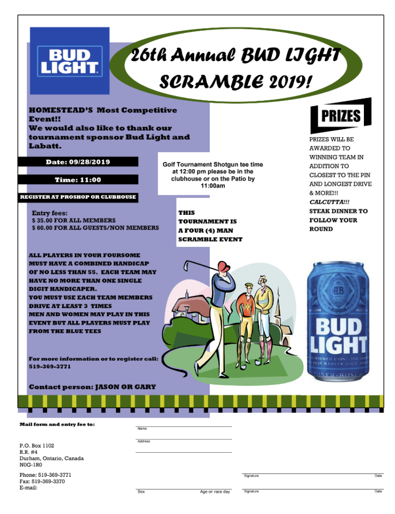2019 bud light scramble golf