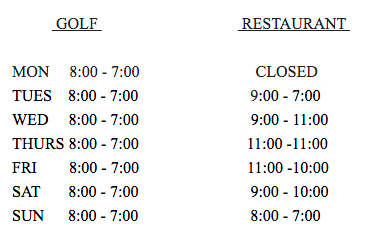 golf and restaurant hours